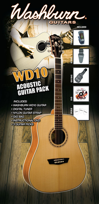 Washburn WD10 acoustic guitar PACK