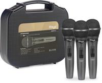 SDMP15-3 комплект 3 кабелни динамични микрофона с копче в куфар
